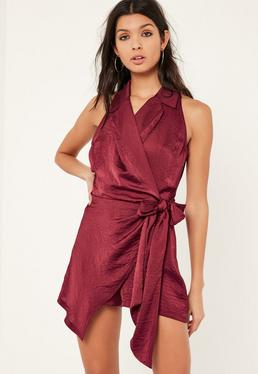 Burgundy Knot Front Wrap Silky Shirt Playsuit