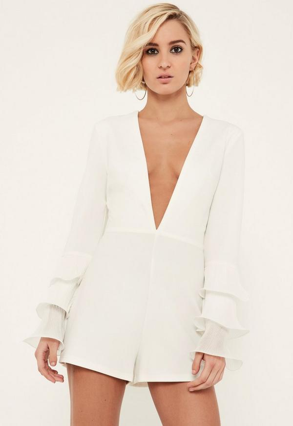 White Pleated Flute Sleeve Plunge Playsuit