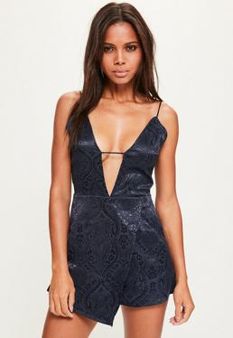 Navy Blue Jacquard Strappy Plunge Playsuit