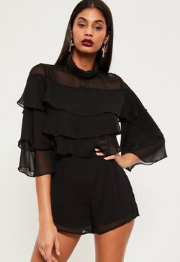 Black High Neck Layered Frill Playsuit