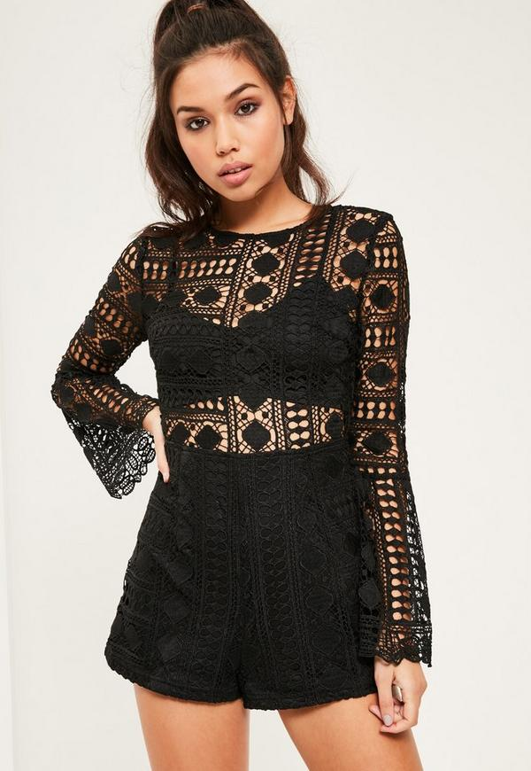 Black Lace High Neck Bra Insert Playsuit | Missguided - photo#3