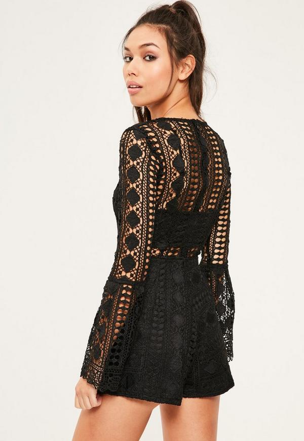 Black Lace High Neck Bra Insert Playsuit | Missguided - photo#9
