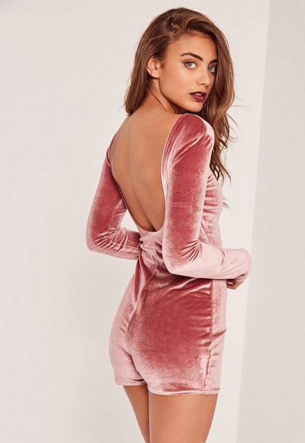 Low Back Long Sleeve Velvet Playsuit Pink