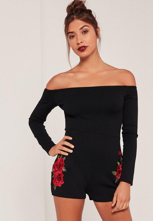 Black Bardot Applique Floral Playsuit