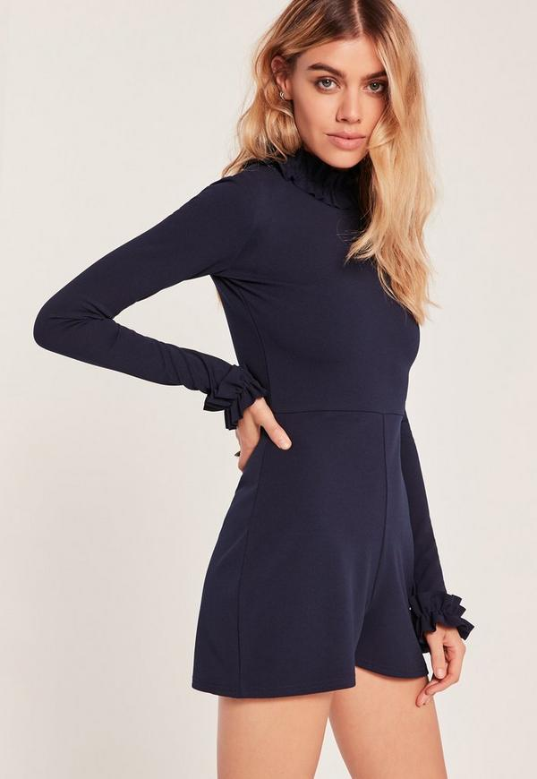 Navy Frill Detail High Neck Playsuit
