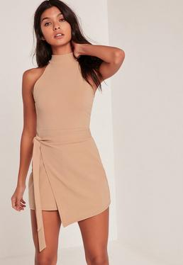 Nude Wrap Tie Waist Sleeve Playsuit