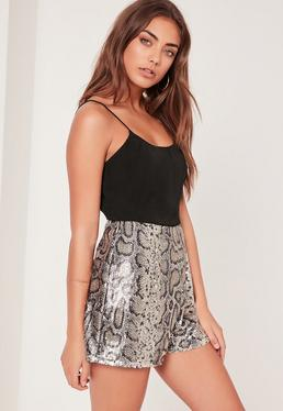 Snake Print Sequin Strappy Playsuit Silver