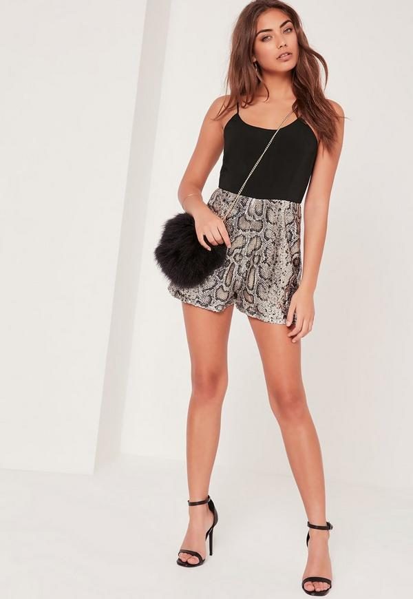 Snake Print Sequin Strappy Romper Silver Missguided