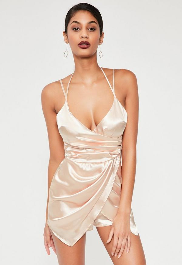 nude silky asymmetric ruched playsuit
