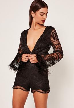 Black Lace Feather Trim Playsuit