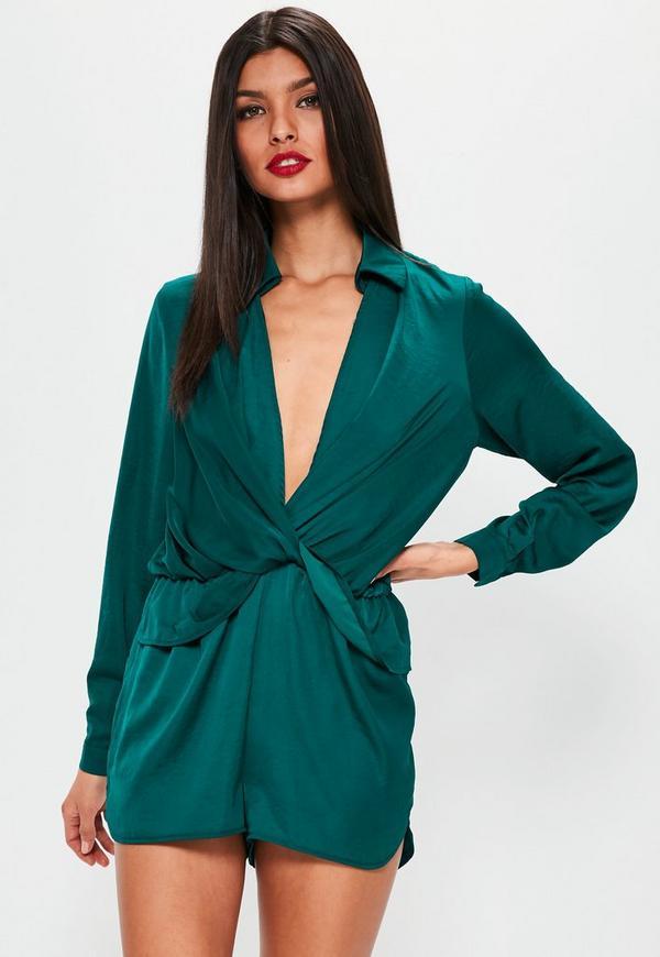 Green Satin Wrap Playsuit