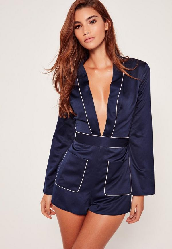 Navy Silky Plunge Binded Playsuit