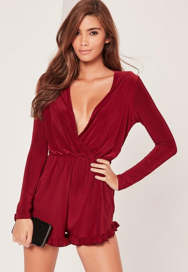 Slinky Long Sleeve Flutter Detail Playsuit Burgundy