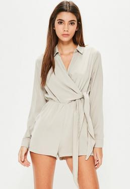 Grey Wrap Front Playsuit