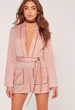 Silky Plunge Binded Romper Pink