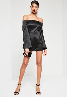 Black Wide Sleeve Satin Bardot Playsuit