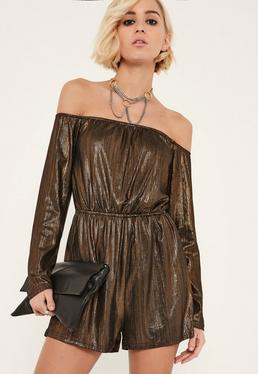 Bronze Metallic Bardot Playsuit