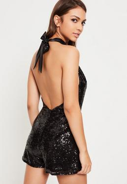 Black Sequin Bow Back Halterneck Romper