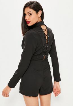 Schwarzer Blazer-Playsuit mit V-Kragen und Rücken-Schnürungen
