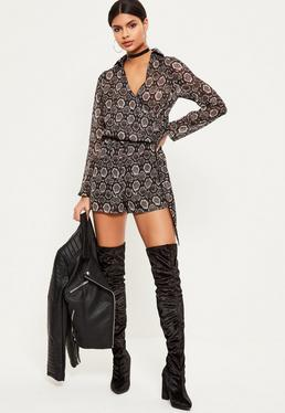 Grey Snake Print Wrap Front Shirt Playsuit