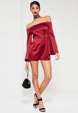 Burgundy Wide Sleeve Satin Bardot Playsuit