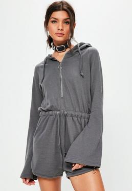 Grey Zip Detail Flare Sleeve Loopback Hooded Romper