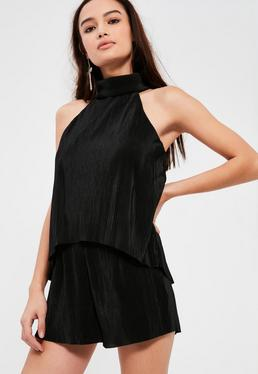 Black Pleated High Neck Double Layer Romper