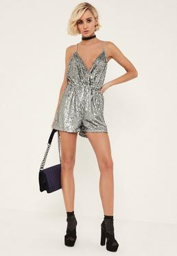 Silver Sequin Strappy Wrap Playsuit
