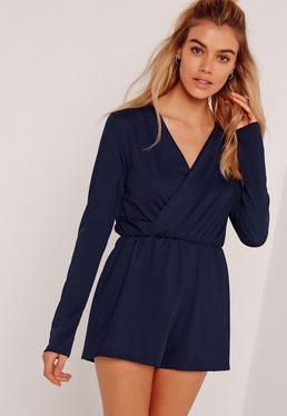 Crepe Wrap Playsuit Navy