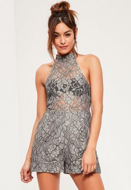 Grey High Neck Sleeveless Lace Playsuit