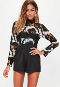 Black Lace Top Long Sleeve Playsuit