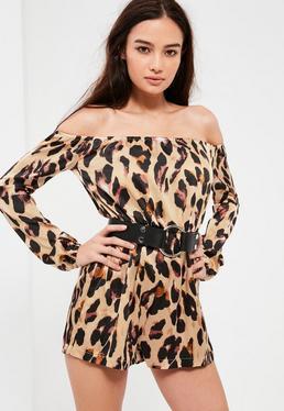 Nude Leopard Print Bardot Romper