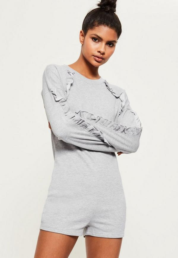 Grey Frill Detail Loopback Playsuit