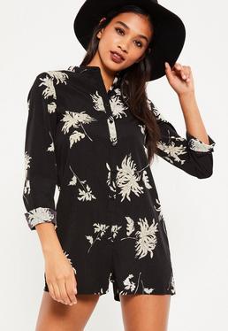Black Floral Print Shirt Playsuit