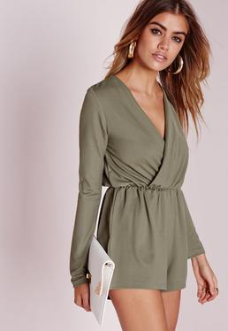 Crepe Wrap Playsuit Khaki