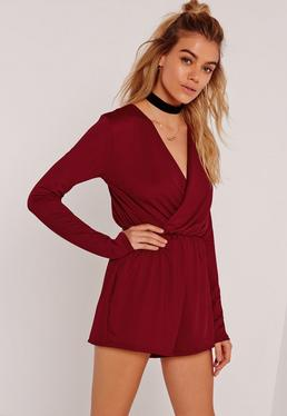 Crepe Wrap Playsuit Burgundy