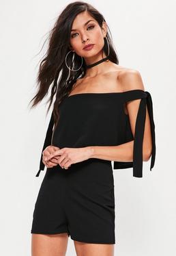 Black Bardot Tie Strap Romper