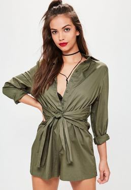 Khaki Tie Waist Shirt Playsuit