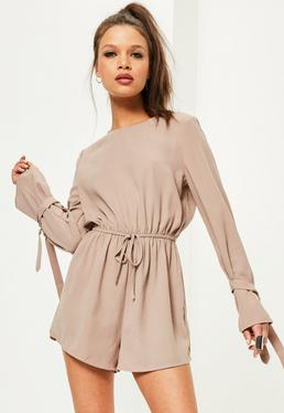 Brown Tie Sleeve Crepe Playsuit