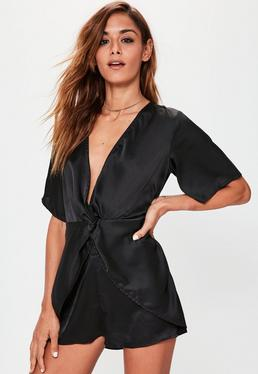 Black Knot Front Silky Playsuit