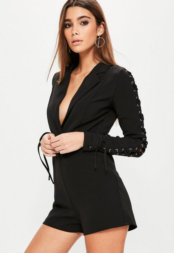 Black Lace Up Sleeve Tuxedo Playsuit