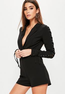 Black Lace Up Sleeve Tuxedo Romper