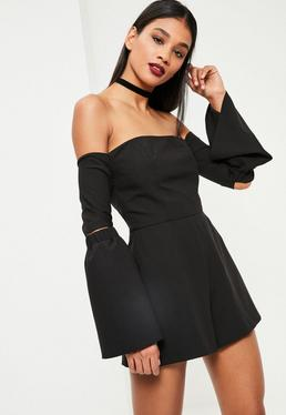 Black Bardot Elbow Slit Flare Sleeve Playsuit