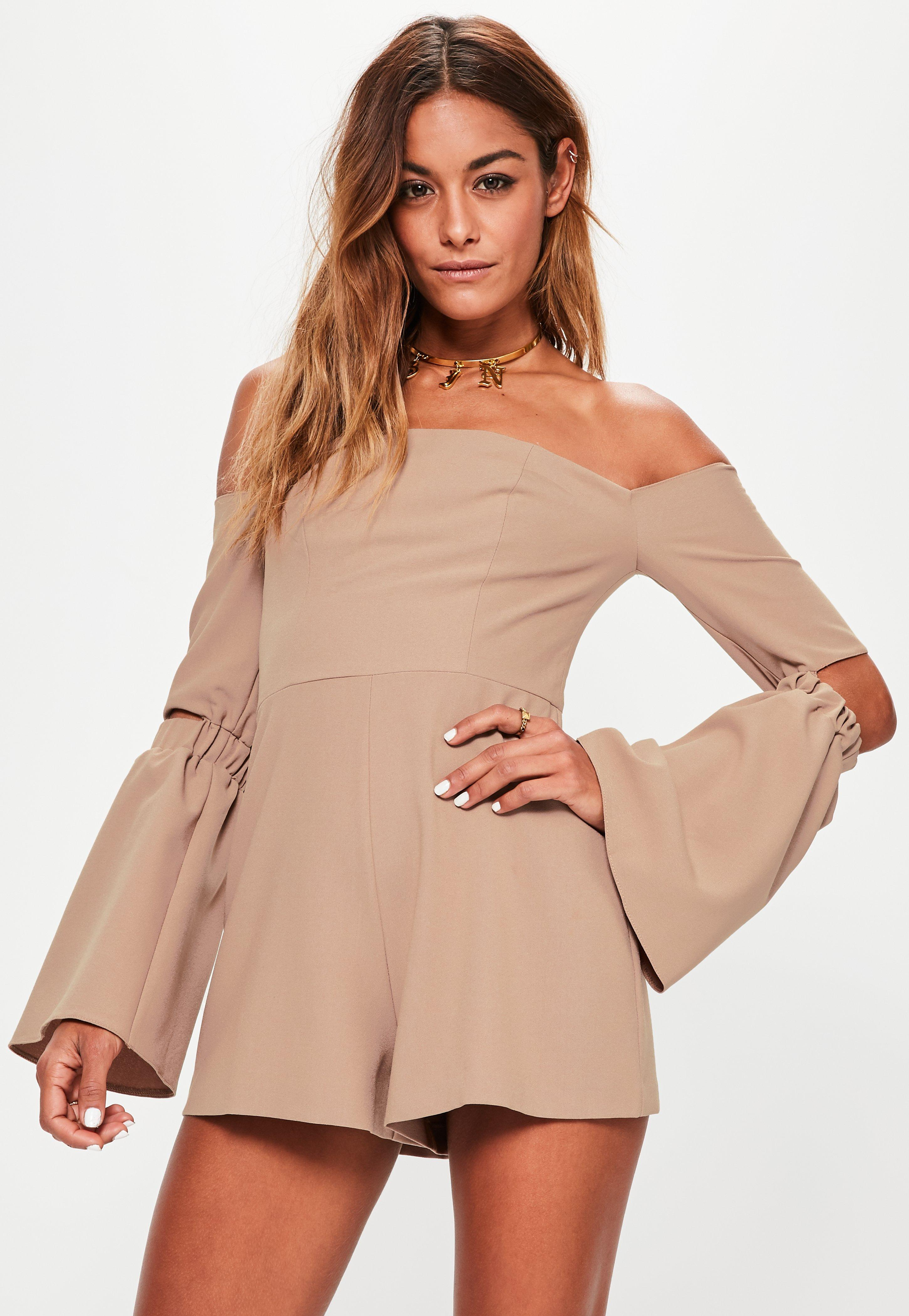 b7cd91e61a1 Nude Bardot Elbow Slit Flare Sleeve Playsuit