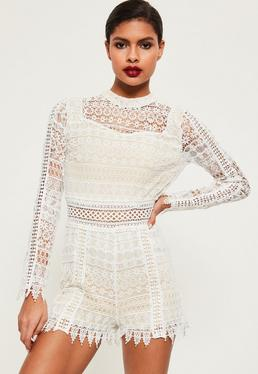 White Open Back High Neck Lace Playsuit
