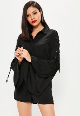 Mono corto estilo camisa con mangas entrelazadas en negro