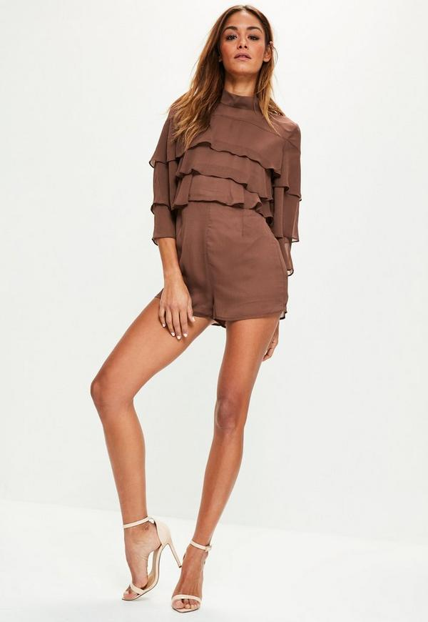 Brown High Neck Layered Frill Playsuit