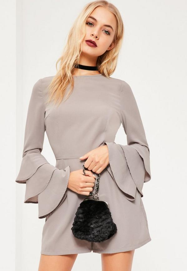 Grey Triple Frill Sleeve Playsuit