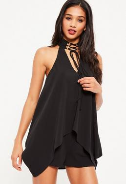 Black Lace Up Neck Double Layer Playsuit