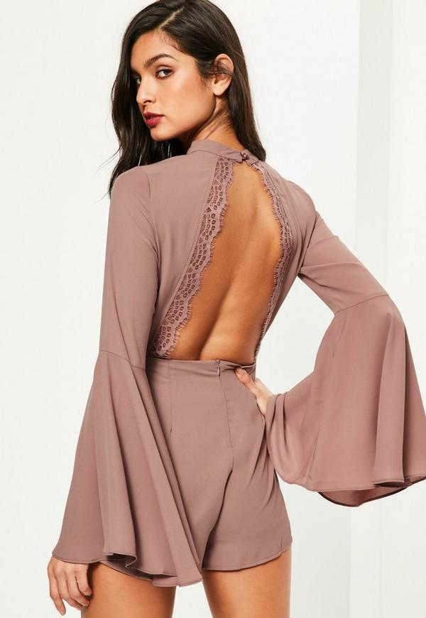 Pink Open Back Flare Sleeve Playsuit